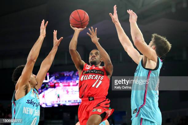 Bryce Cotton of the Wildcats shoots during the NBL Cup match between the Perth Wildcats and the New Zealand Breakers at John Cain Arena on March 12...