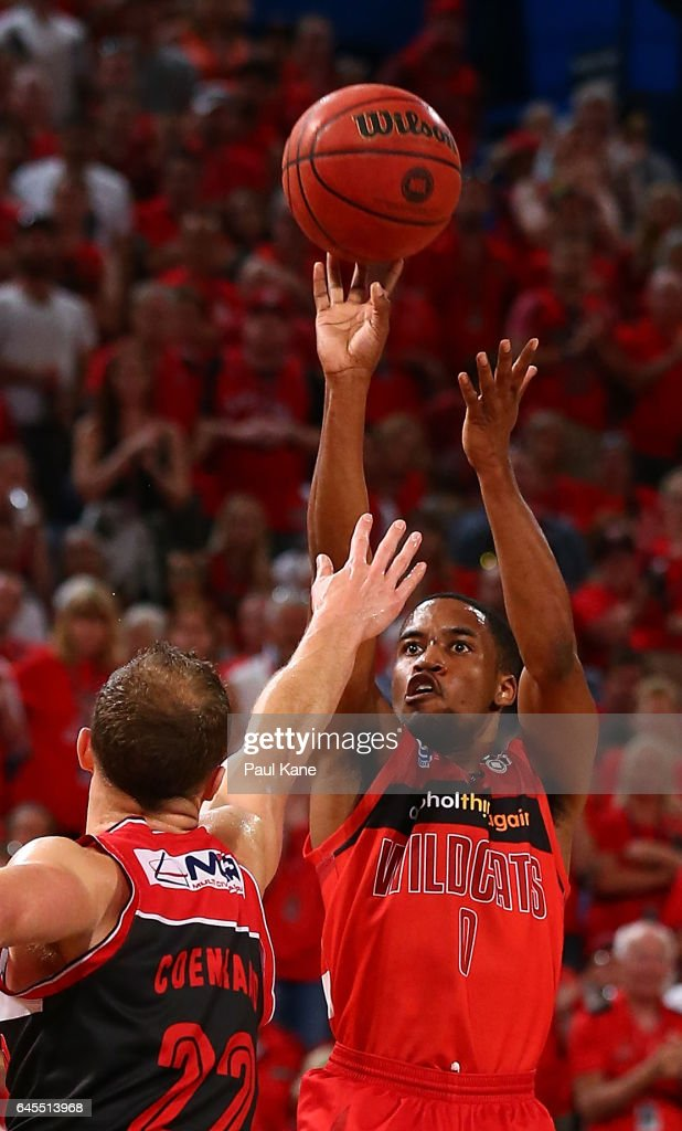 Bryce Cotton of the Wildcats takes a shot against Tim Coenraad of the Hawks during game one of the NBL Grand Final series between the Perth Wildcats and the Illawarra Hawks at Perth Arena on February 26, 2017 in Perth, Australia.