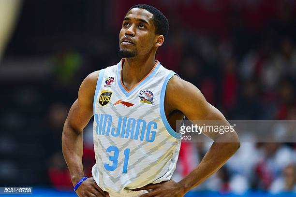 Bryce Cotton of Xinjiang Flying Tigers looks on during the 37th round of the Chinese Basketball Association 15/16 game between Xinjiang Flying Tigers...