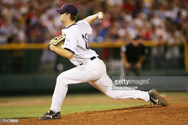 Bryce Cox of the Rice Owls pitches against the Oregon State Beavers during NCAA College World Series Baseball at Rosenblatt Stadium on June 22 2006...