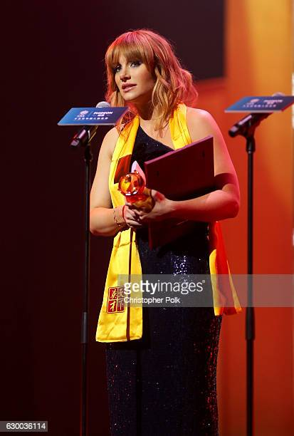 Bryce Dallas Howard accepts the Best Global Actress award onstage during the 21st Annual Huading Global Film Awards at The Theatre at Ace Hotel on...