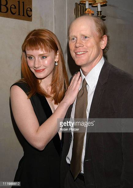 Bryce Dallas Howard and dad Ron Howard during Opening night after party of Tartuffe at Laura Belles Restaurant in New York, NY, United States.