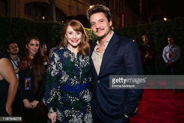 Bryce Dallas Howard and Pedro Pascal attend the premiere of Disney's 'The Mandalorian' at El Capitan Theatre on November 13 2019 in Los Angeles...
