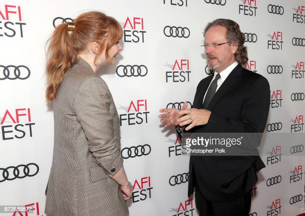 Bryce Dallas Howard and President and CEO of AFI Bob Gazzale attend the 'On Directing Patty Jenkins' at AFI FEST 2017 Presented By Audi TCL Chinese 6...