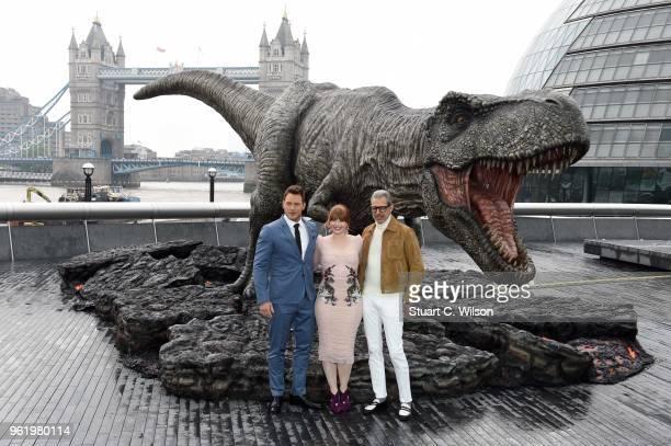 Bryce Dallas Howard Chris Pratt and Jeff Goldblum attend the 'Jurassic World Fallen Kingdom' photocall at London Bridge on May 24 2018 in London...