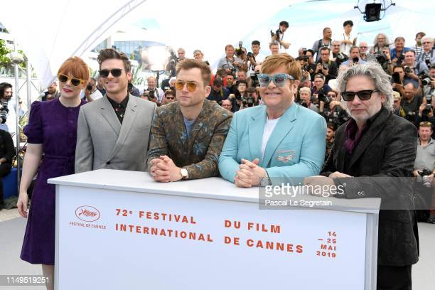 Bryce Dallas Howard Richard Madden Taron Egerton Sir Elton John and Dexter Fletcher attend the photocall for Rocketman during the 72nd annual Cannes...