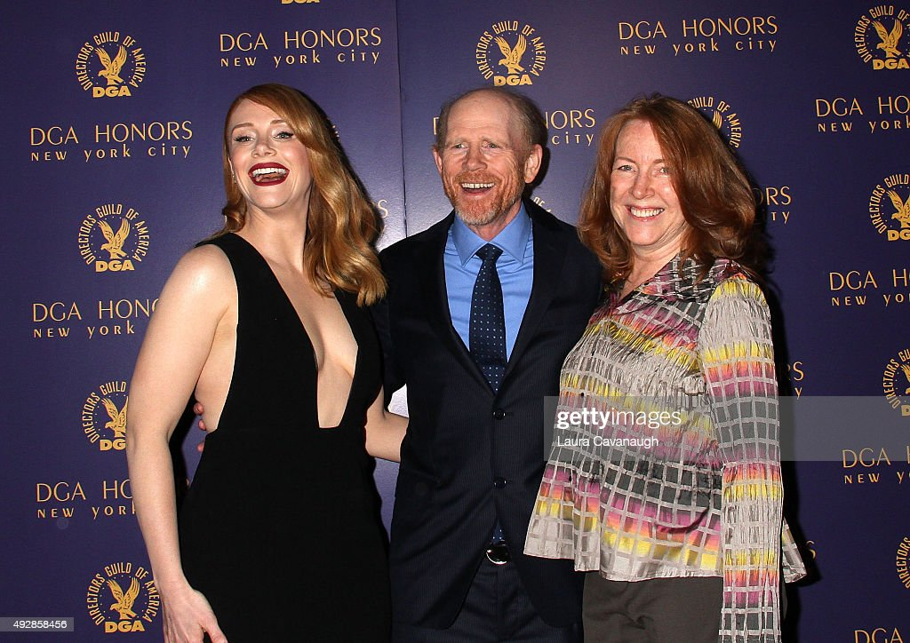 Bryce Dallas Howard, Ron Howard and Cheryl Howard attend the DGA Honors Gala 2015 on October 15, 2015 in New York City.