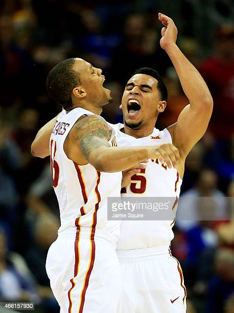 Bryce Dejean-Jones and Naz Long of the Iowa State Cyclones celebrate in the second half against the Oklahoma Sooners during a semifinal game of the...
