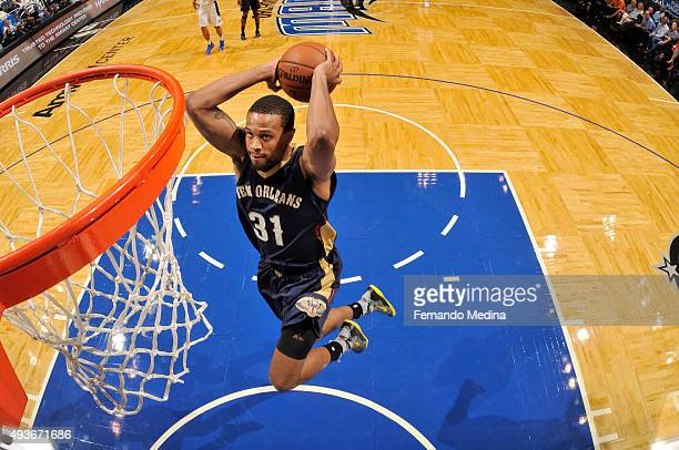 Bryce DejeanJones of the New Orleans Pelicans goes up for a dunk against the Orlando Magic during a preseason game on October 21 2015 at Amway Center...