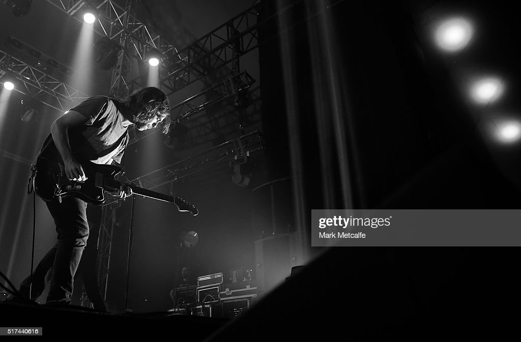 Bryce Dessner of The National performs live for fans at the 2016 Byron Bay Bluesfest on March 25, 2016 in Byron Bay, Australia.