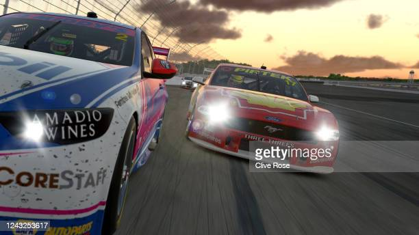 Bryce Fullwood driving the Mobil 1™ Middy's Racing Holden Commodore ZB leads Scott McLaughlin in the Shell V-Power Racing Team Ford Mustang during...
