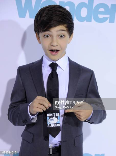 Bryce Gheisar arrives at the premiere of Lionsgate's Wonder at Regency Village Theatre on November 14 2017 in Westwood California