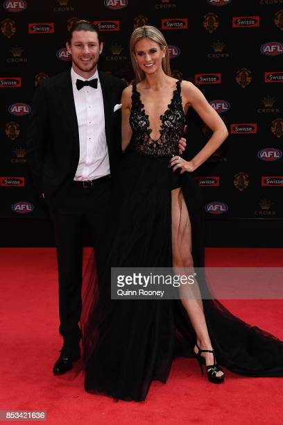 Bryce Gibbs and partner Lauren Tscharke arrive ahead of the 2017 Brownlow Medal at Crown Entertainment Complex on September 25 2017 in Melbourne...