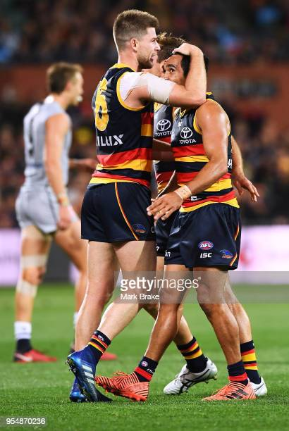 Bryce Gibbs of the Adelaide Crows and Eddie Betts of the Adelaide Crows celebrates a goal during the round seven AFL match between the Adelaide Crows...