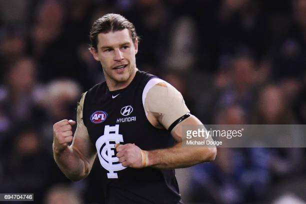 Bryce Gibbs of the Blues celebrates a goal during the round 12 AFL match between the Carlton Blues and the Greater Western Sydney Giants at Etihad...