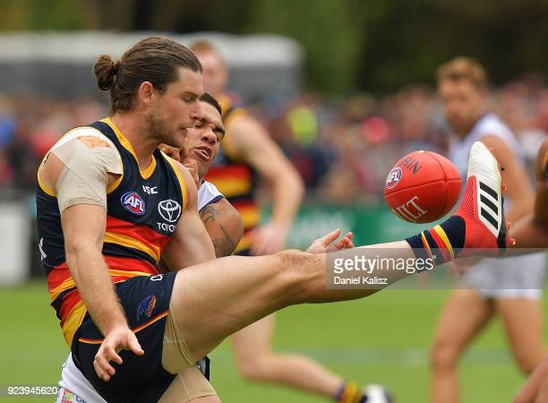Bryce Gibbs of the Crows kicks the ball during the JLT Community Series AFL match between the Adelaide Crows and the Fremantle Dockers at Strathalbyn...