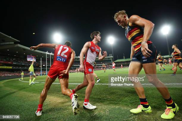 Bryce Gibbs of the Crows looks on during the round five AFL match between the Sydney Swans and the Adelaide Crows at Sydney Cricket Ground on April...