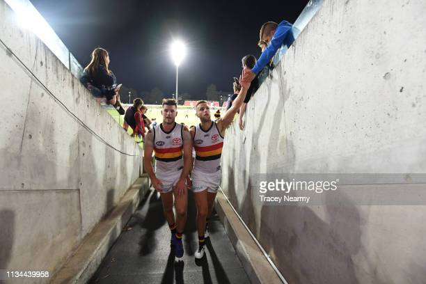 Bryce Gibbs of the Crows walks off after winning the 2019 JLT Community Series AFL match between the Greater Western Sydney Giants and the Adelaide...