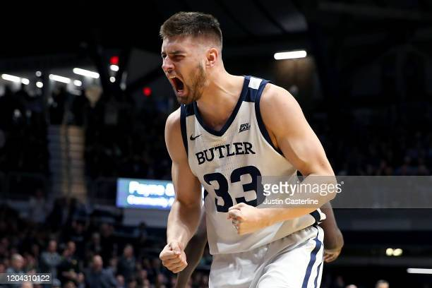 Bryce Golden of the Butler Bulldogs reacts after a play in the game against the Villanova Wildcats during the first half at Hinkle Fieldhouse on...
