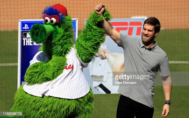 Bryce Harper is introduced to the Philadelphia Phillies during a press conference at Spectrum Stadium on March 02 2019 in Clearwater Florida