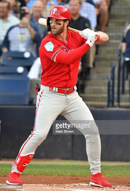 Bryce Harper of the Philadelphia Phillies at bat during the spring training game against the New York Yankees at Steinbrenner Field on March 13 2019...