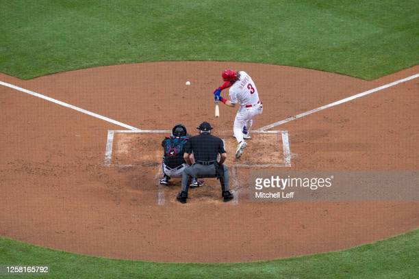 Bryce Harper of the Philadelphia Phillies bats against the Miami Marlins during Opening Day at Citizens Bank Park on July 24, 2020 in Philadelphia,...