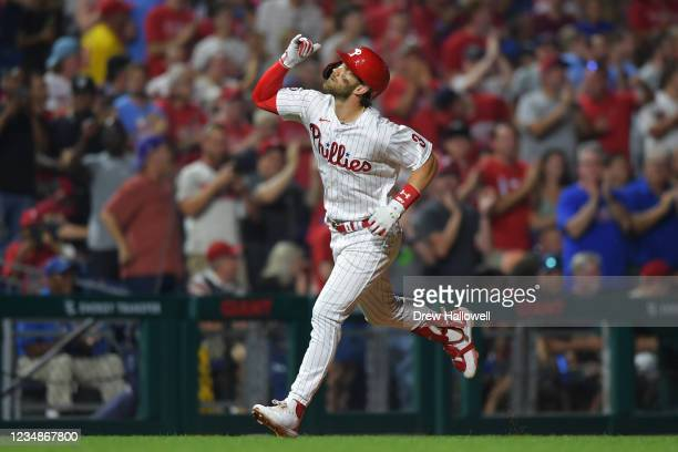 Bryce Harper of the Philadelphia Phillies celebrates after a two run home run in the fifth inning against the Tampa Bay Rays at Citizens Bank Park on...