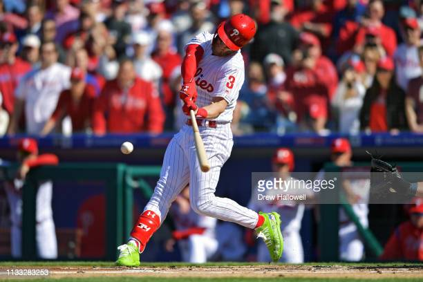Bryce Harper of the Philadelphia Phillies grounds out in his first at bat in the first inning against the against the Atlanta Braves on Opening Day...