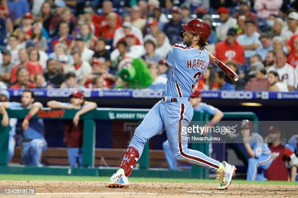 Bryce Harper of the Philadelphia Phillies his a three run home run during the seventh inning against the Chicago Cubs at Citizens Bank Park on...