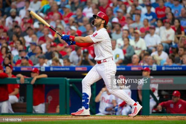 Bryce Harper of the Philadelphia Phillies hits a two run home run in the bottom of the first inning against the Chicago Cubs at Citizens Bank Park on...