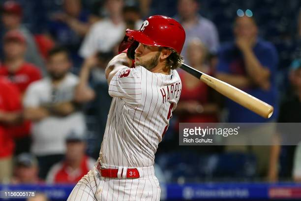 Bryce Harper of the Philadelphia Phillies hits a walkoff two run double in the ninth inning to defeat the Los Angeles Dodgers 98 in a baseball game...