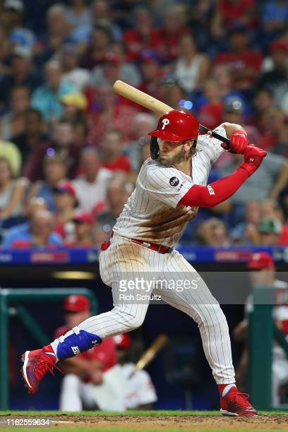 Bryce Harper of the Philadelphia Phillies in action against the Los Angeles Dodgers during a baseball game at Citizens Bank Park on July 16 2019 in...
