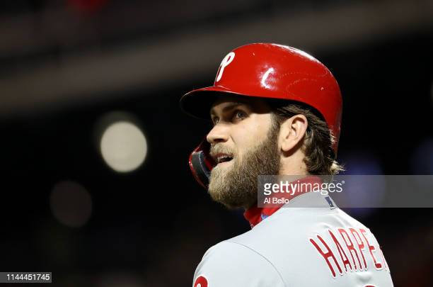 Bryce Harper of the Philadelphia Phillies looks on against the New York Mets during their game at Citi Field on April 22 2019 in New York City