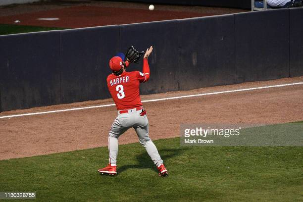 Bryce Harper of the Philadelphia Phillies makes the out in the third inning during the spring training game against the New York Yankees at...