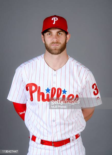 Bryce Harper of the Philadelphia Phillies poses during Photo Day on Sunday March 3 2019 at Spectrum Field in Clearwater Florida