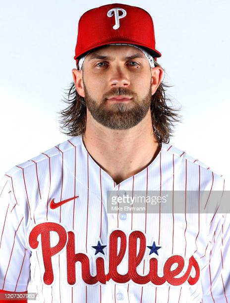 Bryce Harper of the Philadelphia Phillies poses for a portrait during photo day at Spectrum Field on February 19, 2020 in Clearwater, Florida.