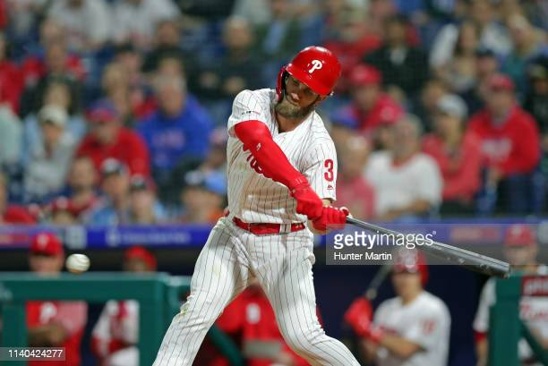 Bryce Harper of the Philadelphia Phillies strikes out in the eighth inning during a game against the Detroit Tigers at Citizens Bank Park on April 30...