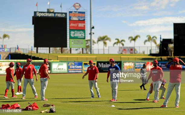 Bryce Harper of the Philadelphia Phillies works out at Spectrum Field on March 03, 2019 in Clearwater, Florida.