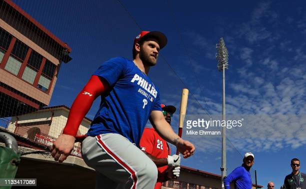 Bryce Harper of the Philadelphia Phillies works out at Spectrum Field on March 03 2019 in Clearwater Florida