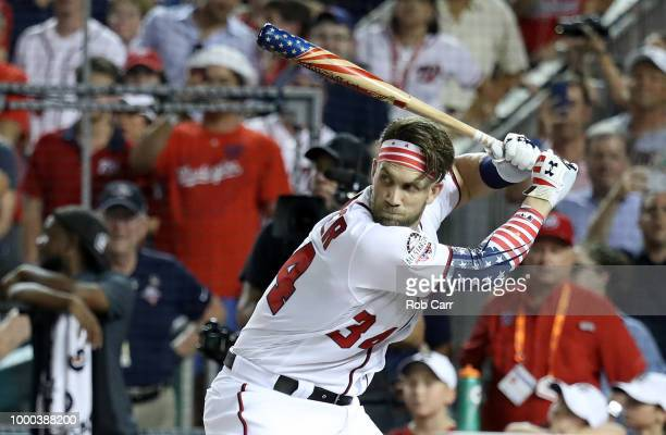 Bryce Harper of the Washington Nationals and National League competes in the first round during the TMobile Home Run Derby at Nationals Park on July...