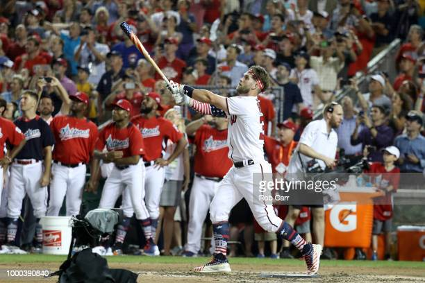 Bryce Harper of the Washington Nationals and National League hits his final home run to win the T-Mobile Home Run Derby at Nationals Park on July 16,...