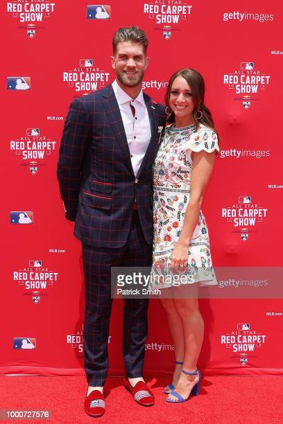 Bryce Harper of the Washington Nationals and the National League and wife Kayla Harper attend the 89th MLB AllStar Game presented by MasterCard red...