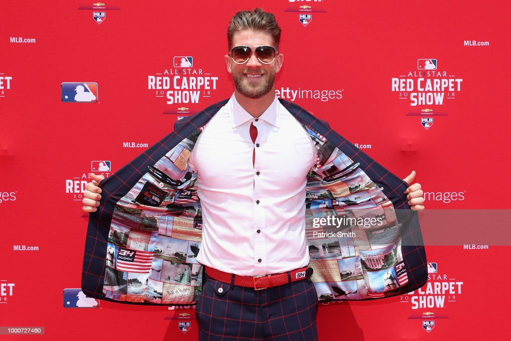 Bryce Harper #34 of the Washington Nationals and the National League attends the 89th MLB All-Star Game, presented by MasterCard red carpet at Nationals Park on July 17, 2018 in Washington, DC.