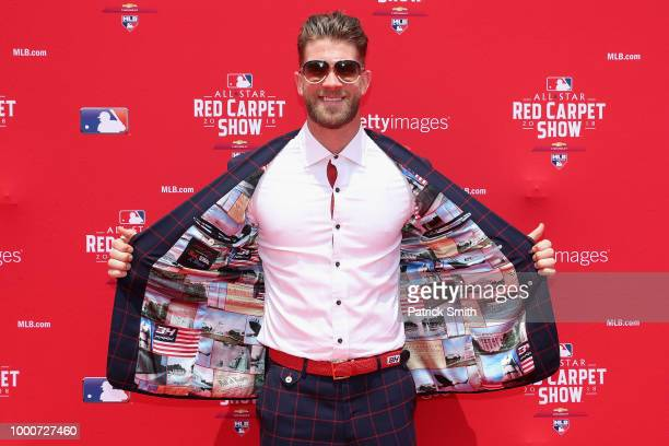 Bryce Harper of the Washington Nationals and the National League attends the 89th MLB AllStar Game presented by MasterCard red carpet at Nationals...