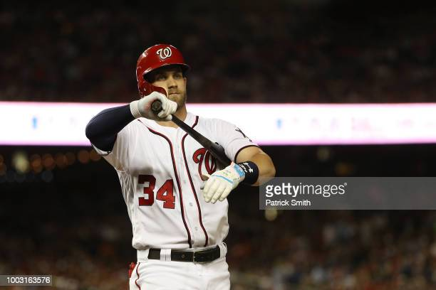 Bryce Harper of the Washington Nationals and the National League during the 89th MLB AllStar Game presented by Mastercard at Nationals Park on July...