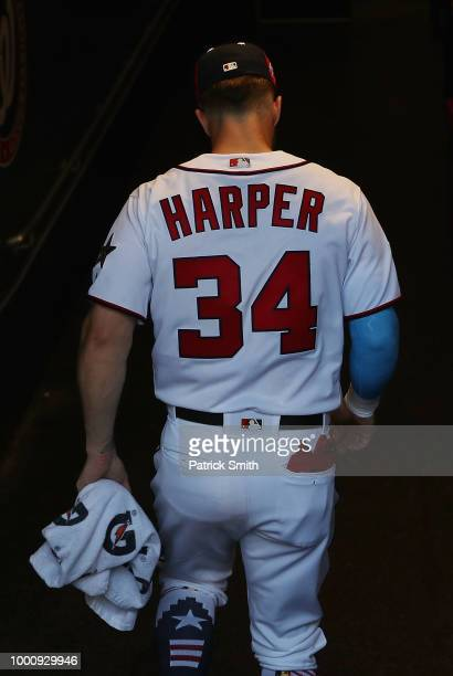 Bryce Harper of the Washington Nationals and the National League prepares to take the field before the 89th MLB AllStar Game presented by Mastercard...