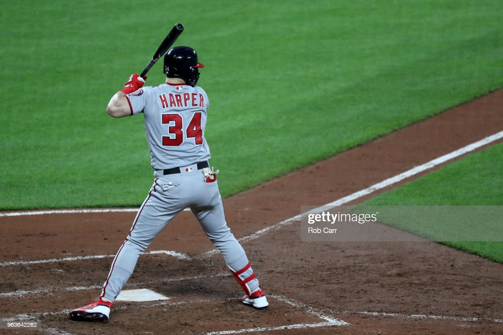 Bryce Harper #34 of the Washington Nationals bats against the Baltimore Orioles at Oriole Park at Camden Yards on May 29, 2018 in Baltimore, Maryland.