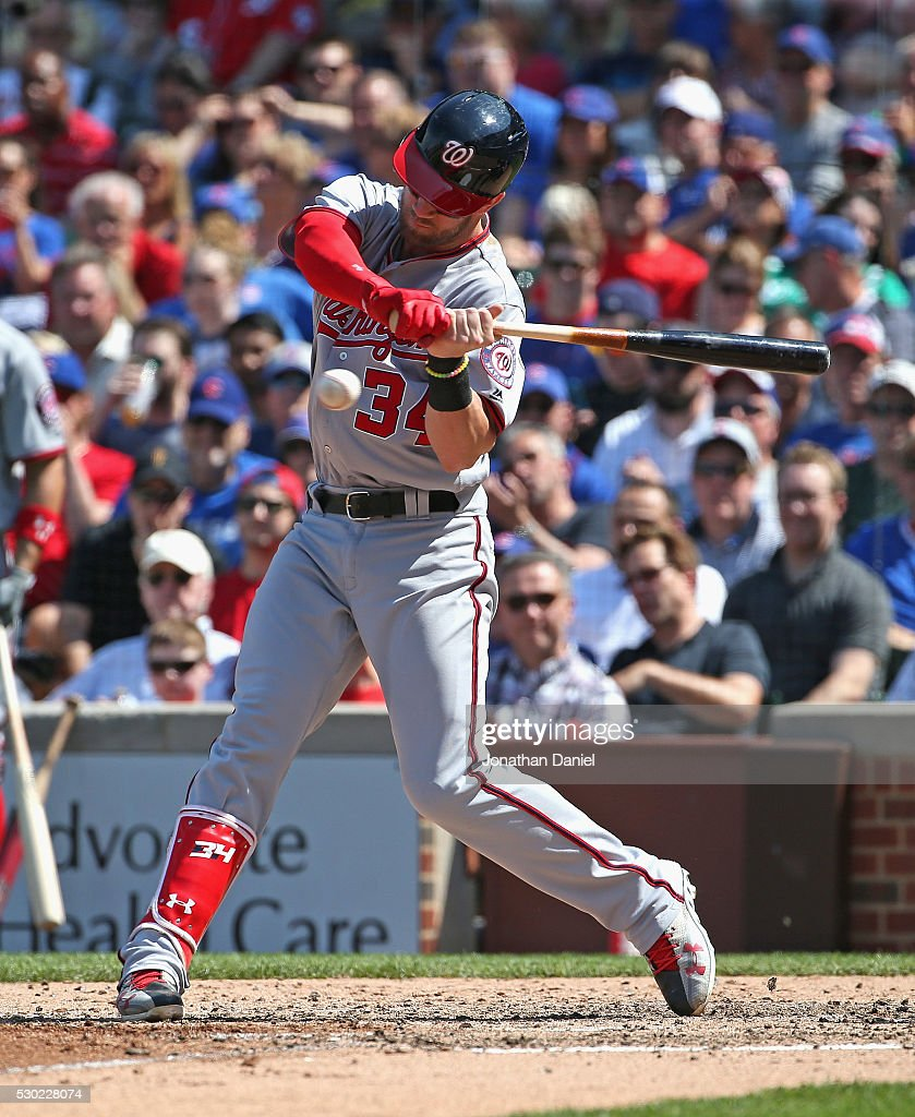 Bryce Harper #34 of the Washington Nationals bats against the Chicago Cubs at Wrigley Field on May 6, 2016 in Chicago, Illinois. The Cubs defeated the Nationals 8-6.