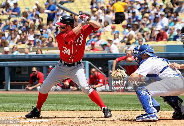 Bryce Harper of the Washington Nationals bats against the Los Angeles Dodgers on April 29 2012 at Dodger Stadium in Los Angeles California The...