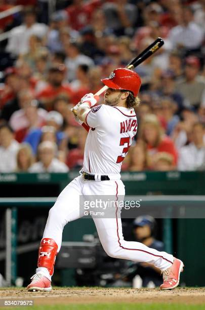 Bryce Harper of the Washington Nationals bats against the Miami Marlins at Nationals Park on August 10 2017 in Washington DC